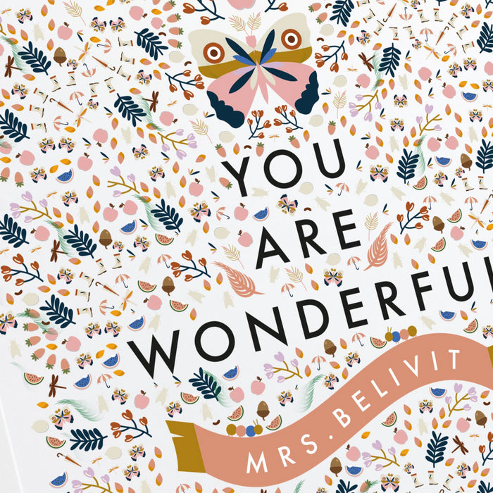 Personalised You Are Wonderful Square Classroom Print