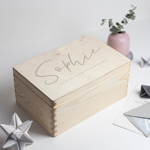 Personalised Thank You Bridesmaid Engraved Wooden Box