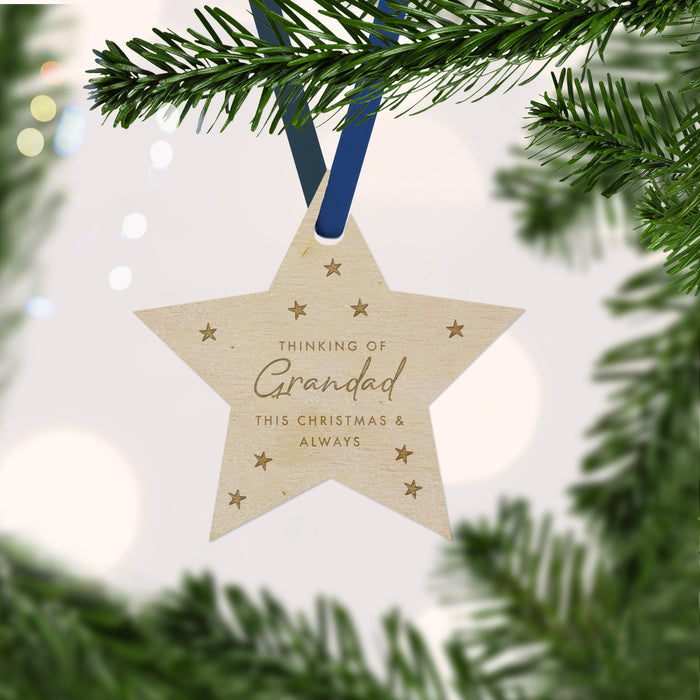 Thinking of Grandad at Christmas time Star Memorial Bauble