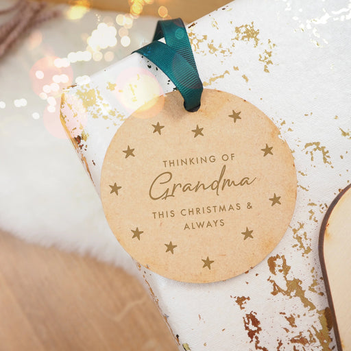 Remembering Grandma / Grandad Circular Engraved Wooden Christmas Tree Decoration