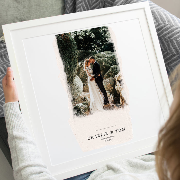 Personalised Torn Paper Effect Wedding Photo Art Print