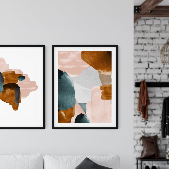 Burnt Sienna Watercoloured Style Swashed Art Print