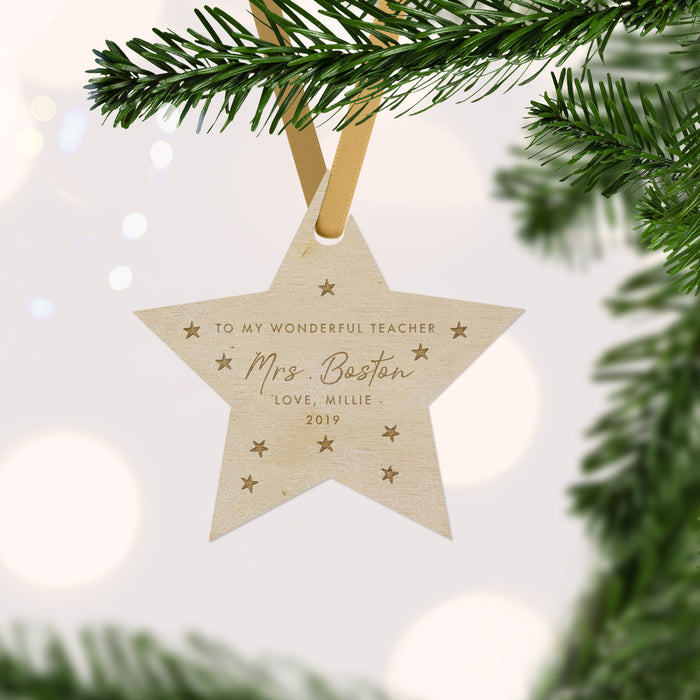 Wonderful Teacher Engraved Personalised Star Christmas Bauble