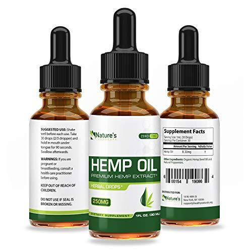 Hemp Oil for Pain Relief - Stress Support, Anti Anxiety, Sleep Supplements  - Herbal Drops - Rich in MCT Fatty Acids - Natural Anti Inflammatory - 1 Fl