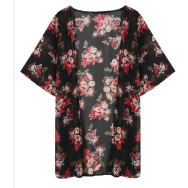 Black Floral Coverup - Boho 70