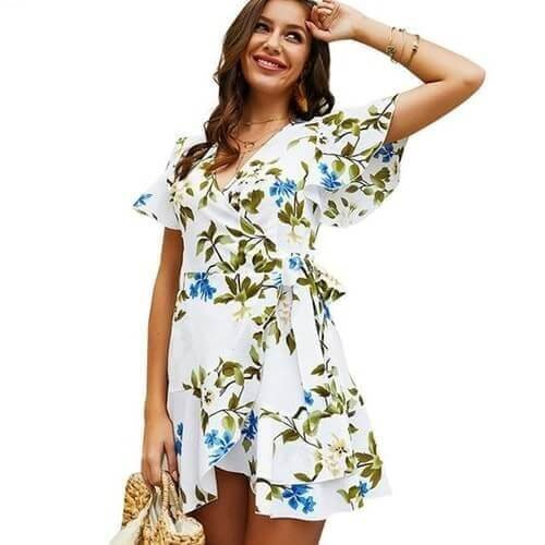 Casual V Neck Butterfly Dress - Boho 70