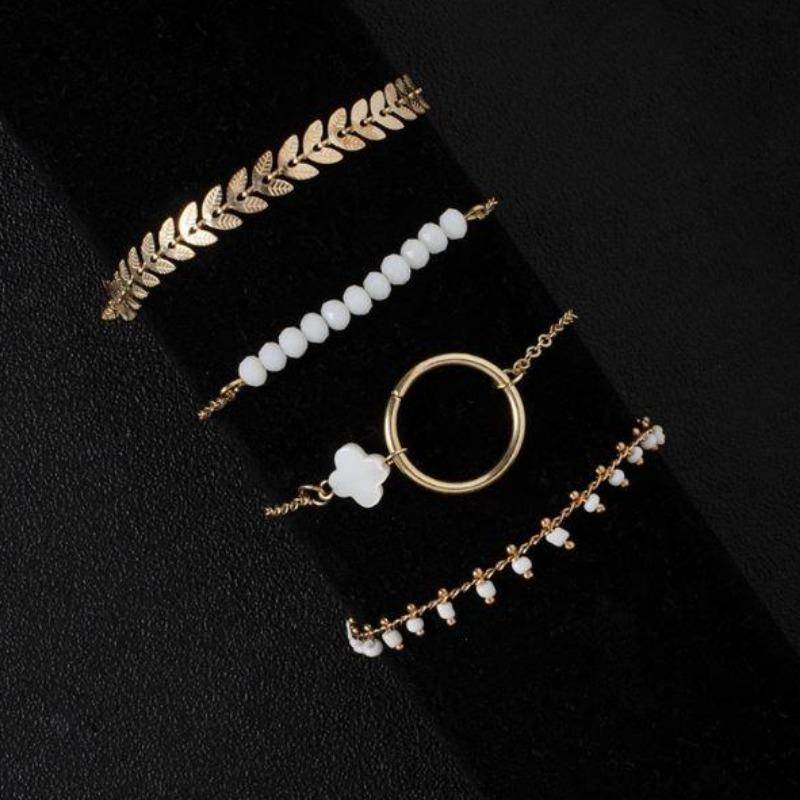 White Beaded Bracelet Set
