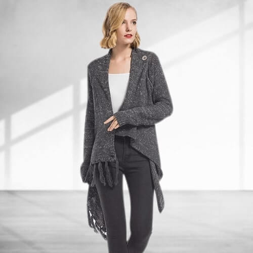 Kyra Cardigan (Dark Gray) - Boho 70