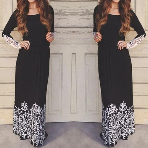 Maxi Long Lace Sleeve - Boho 70
