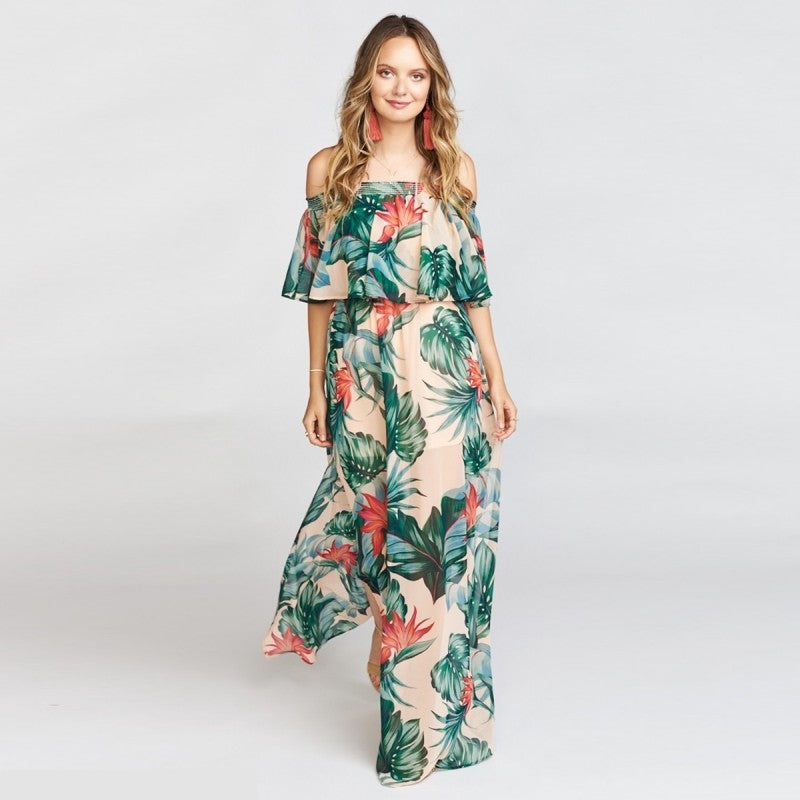 Tropical Rain Dress - Boho 70