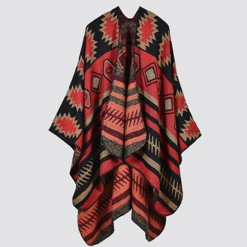 Nova Scotian Batwing Winter Poncho (Red) - Boho 70
