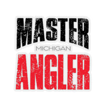 Load image into Gallery viewer, Michigan Master Angler Square Sticker - Red