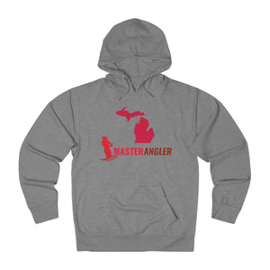 Michigan Master Angler Unisex Terry Hoodie Red Long Logo