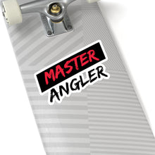 Load image into Gallery viewer, Black Stripe Master Angler Sticker - Square Red