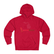 Load image into Gallery viewer, Michigan Master Angler Unisex Terry Hoodie Red Long Logo