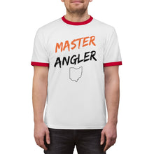 Load image into Gallery viewer, Ohio Master Angler Unisex Ringer Tee - Orange Logo