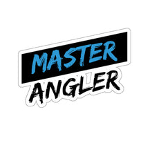 Load image into Gallery viewer, Black Stripe Master Angler Sticker - Square Blue