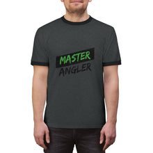 Load image into Gallery viewer, Master Angler Unisex Ringer Tee - Green Slash Logo