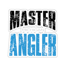 Load image into Gallery viewer, Michigan Master Angler Square Sticker - Blue
