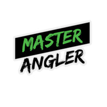 Load image into Gallery viewer, Black Stripe Master Angler Sticker - Square Green