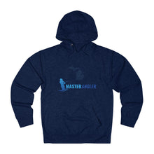 Load image into Gallery viewer, Michigan Master Angler Unisex Terry Hoodie Blue Long Logo