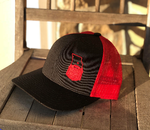 Bearded Missouri Trucker Hat-Black/Red
