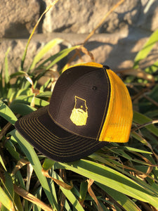 Bearded Missouri Trucker Hat-Black/Gold