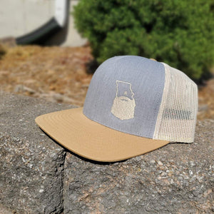 Bearded Missouri Trucker Hat-Heather Grey/Amber Gold/Beige