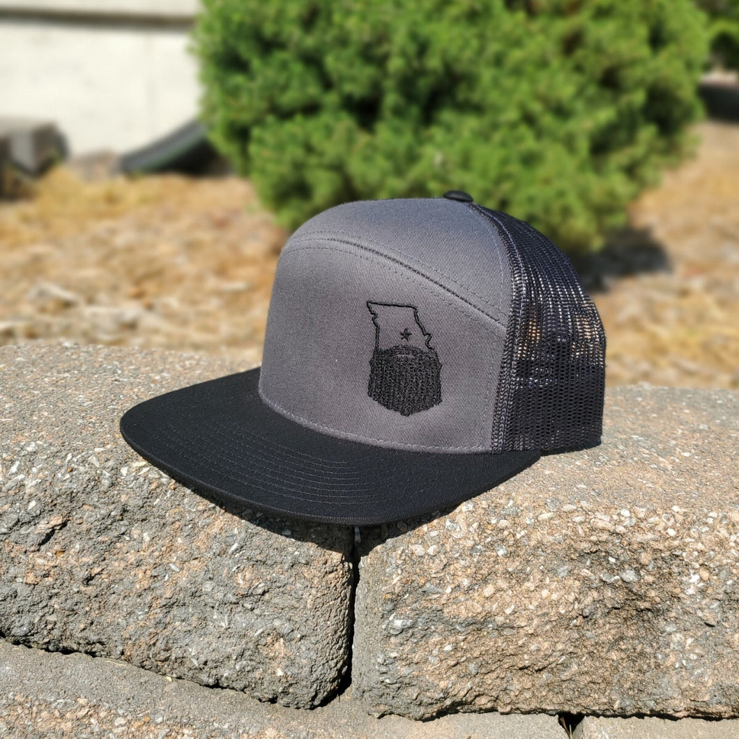 Bearded Missouri 6-panel Arch Snapback Trucker Hat-Charcoal/Black