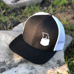 Bearded Missouri Trucker Hat-Heather Black/White