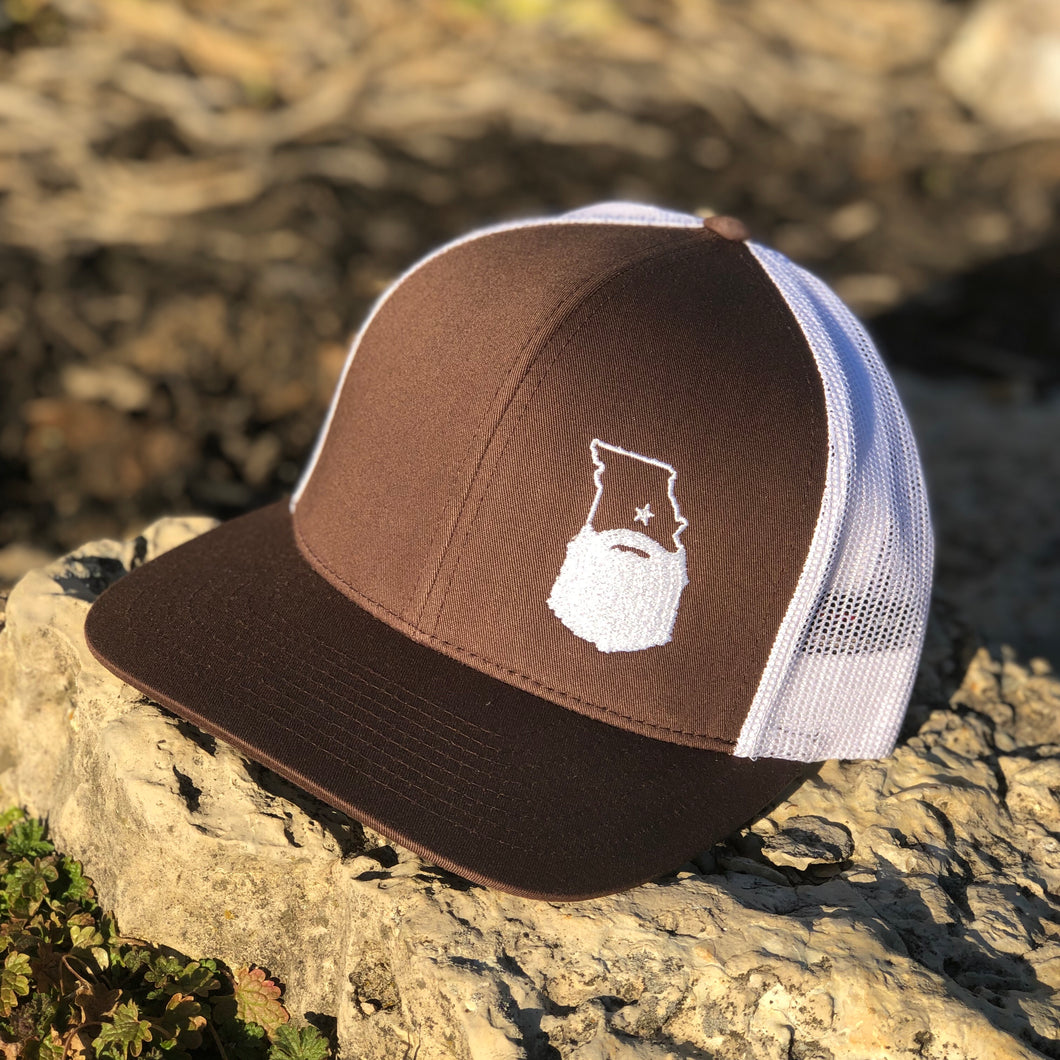 Bearded Missouri Trucker Hat-Brown/White