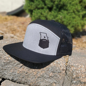Bearded Missouri 6-panel Arch Snapback Trucker Hat-Black/Heather Gray