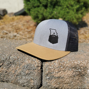 Bearded Missouri Trucker Hat-Heather/Black/Gold