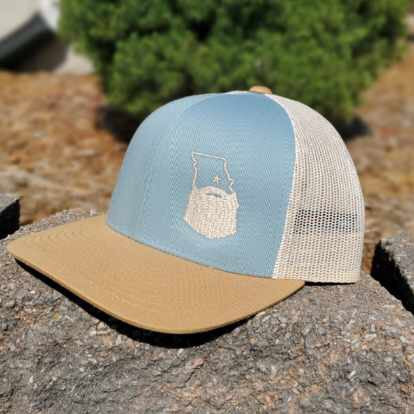 Bearded Missouri Trucker Hat-Smoke Blue/Amber Gold/Beige