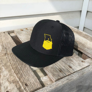 Bearded Missouri Trucker Hat-Black/Black/Gold