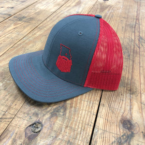 Bearded Missouri Trucker Hat-Graphite/Red