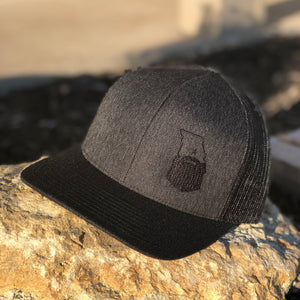 Bearded Missouri Trucker Hat-Black Heather/Black