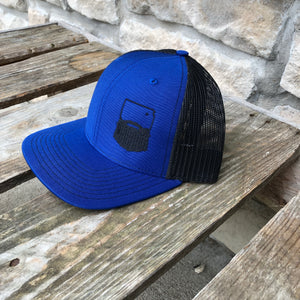 Bearded Kansas Trucker Hat-Blue/Black