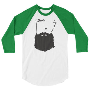 Bearded Arkansas 3/4 Sleeve Raglan Shirt