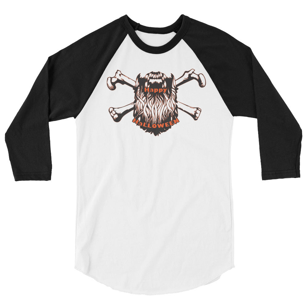 Bearded Halloween 3/4 Sleeve Raglan Shirt