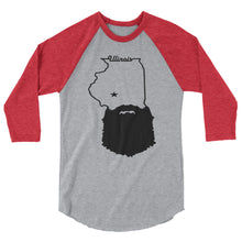 Load image into Gallery viewer, Bearded Illinois 3/4 Sleeve Raglan Shirt