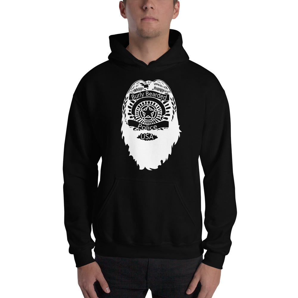 Bearded Police Hooded Sweatshirt (white print)