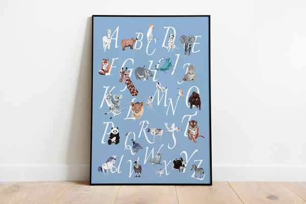 A-Z Animal Chart - Pale Blue