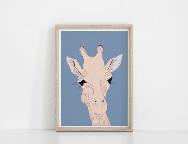 Colour Jungle Giraffe Print - Blue
