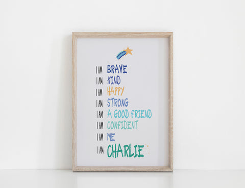 Personalised Positive Affirmations Print - Blue / Grey