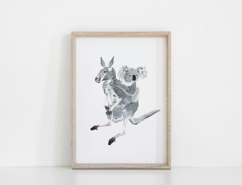 Kangaroo and Koala Print