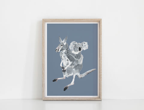 Kangaroo and Koala Print - Moody Blue