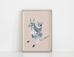 Kangaroo and Koala Print - Calm