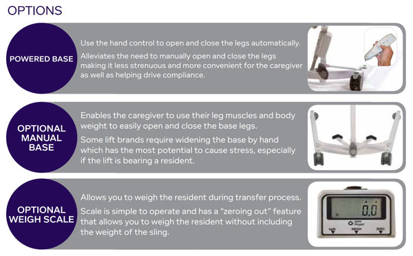 Base Options for Hoyer HPL500 Mobile Patient Lift by Joerns - Wheelchair Liberty