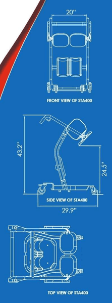 Blue Print - The BestMove™ STA400 Sit-to-Stand Standing Transfer Aid by Best Care |Wheelchair Liberty